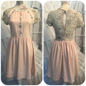 Modcloth cross stitch and lace mini dress